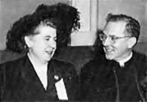 Marian Bender, ACCW President, with Archbishop McIntyre, 1948.